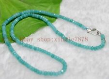 Fine 2x4mm Aquamarine Faceted Roundel Gems Beads Necklace 20'' Silver Clasp AAA