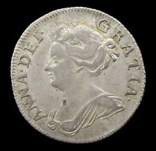 QUEEN ANNE 1708 SILVER SHILLING - VF+