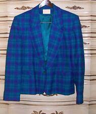 PENDLETON 100% Wool Short Blazer & Skirt Suit Size 14 Teal Purple Black