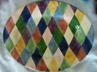 TABLETOPS UNLIMITED Carnival Diamond Hand Painted Oval Platter - Very Large