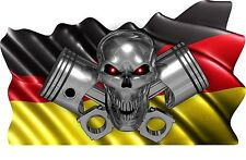 GERMAN Flag Skull Piston Boat Car MOTORCYCLE Truck Stickers Decals Wrap 2- 28""