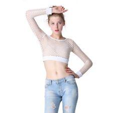 Women Mesh Fishnet Cropped Top Long Sleeve Hollow Blouse T-Shirt Party Clubwear