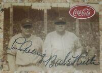 Babe Ruth Lou Gehrig Coca Cola Promo Card. Facsimile Autographs. MINT, RARE