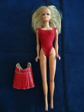 Vintage 1966 Blonde Barbie Doll Bend Bendable Legs Red One-Pc Swimsuit + Skirt