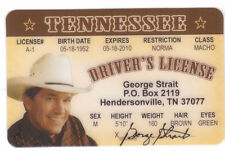 George Strait Straight Country Music Star  -  ID card Drivers License