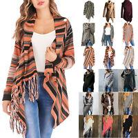 Women's Waterfall Tassel Cardigan Warp Coat Jacket Long Sleeve Sweater Outerwear