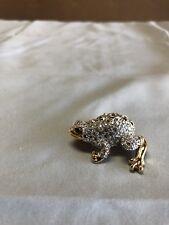 Vintage Swarovski Pave Crystal Frog Toad Pin Brooch Swan Signed