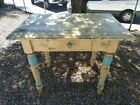 ANTIQUE PAINTED TRUE PRIMITIVE KITCHEN ISLAND WORK TABLE WITH DRAWER