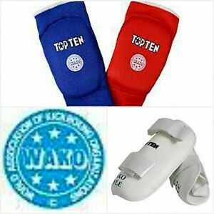 WAKO SAFETY Kickboxing SET White Protective Shin Guards & Reversible Elbow Pads