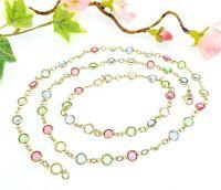 Vintage Colourful Open Back Bezel Set Crystals Necklace & Bracelet Set