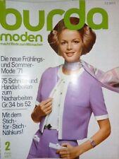Burda Moden 02/71 Kostüme Hosenröcke Jeanslook Stricken 70er J Februar 1971 Kult