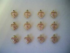 VTG (12) Pink Lucite Mustard Seed Heart Charms Pendants Faith Religious SM