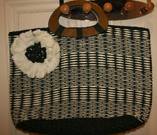 Chic Navy & Cream Straw Bag, Wooden-style handles, Large, Corsage feature, BNWOT