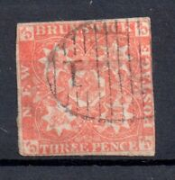 New Brunswick 1851 3d red Arms imperf fine used SG1 WS18991