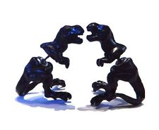 BLACK DINOSAUR STUD EARRINGS 3D tyrannosaurus T-Rex rhinestone eyes science S2