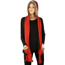 Winter Faux Animal Fur Chunky Knit Hooded Scarf Pullover Hoodie Hat Pocket Red
