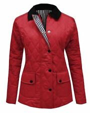 Size 8 Women Ladies Quilted Padded Long Sleeve Collar Coat Button Wine Jacket