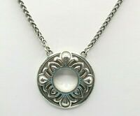 "Brighton Silvertone Round Medallion Pendant Necklace, Chain, 18"" + 2"" Extension"