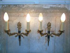 French a pair of swan ornate bronze wall light sconces gorgeous antique