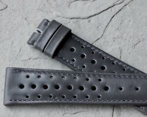 Smooth grey leather 20/16mm rally band 1970s Heuer Autavia Carrera compatible
