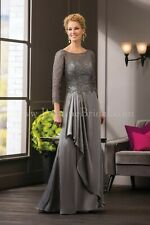 NWT Jade by Jasmine K188052 Platinum chiffon/lace Size 16 long formal gown