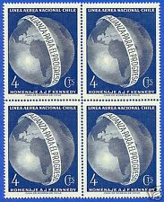 CHILE, TRIBUTE TO PRESIDENT JOHN KENNEDY, BLOCK OF FOUR, YEAR 1964, MNH