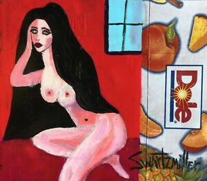 NUDE PAINTING original SWARTZMILLER DNA SIGNED Pop ART Outsider UPCYCLED DOLE CB