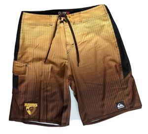 Quicksilver Hawthorn Hawks AFL Footy Mens Board Shorts Swimwear - Size 34