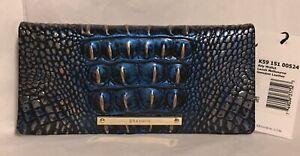 Brahmin Melbourne ADY Slim Bifold Leather Wallet Clutch LAZULI Blue RoseGold NWT