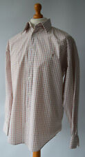 Men's White & Red Checked YSL, Yves Saint Laurent Pour Homme Shirt Size L.