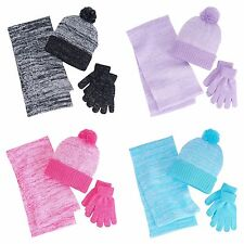 Berkshire Girls 4-16 3-pc. Marled Infinity Scarf, Hat & Gloves Set New $24