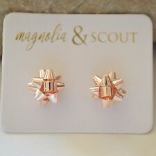 Small Rose Gold Christmas Ribbon Bow Earrings Holiday Party Gifts