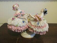 Antique Volkstedt Dresden Lace Germany Porcelain Figurine Dancing Girls