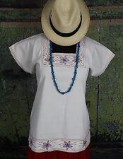 Cream Blouse, Red & Turquoise Embroidery Albarradas Mexico Hippie Boho Santa Fe