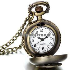 Vintage Bronze Tone Music Note Quartz Pocket Watch Pendant Necklace Ladies Gifts