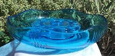 INWALD ART DECO BLUE DEPRESSION URANIUM? GLASS FLOAT BOWL VASE & FLOWER FROG