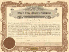 King's Food Products Company > 1922 share stock certificate