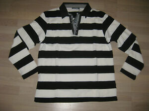 JEEL Jeans Strick Polo Pullover Marine Style weiss-schwarz NEU