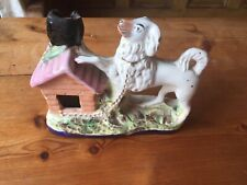 ANTIQUE RARE EARLY VICTORIAN  STAFFORDSHIRE SPILL VASE DOG AND KENNEL