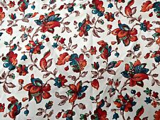 """VINTAGE 40S FLORAL FABRIC MATERIAL 94"""" BY 30"""" WWII SANDERSON"""