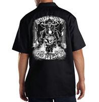 Dickies Black Mechanic Work Shirt Shut Up & Ride Skull Riding A Hog Motorcycle