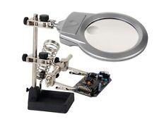 TROISIEME MAIN LOUPE A LED AVEC PINCES ET SUPPORT FER A SOUDER ELECTRONIQUE