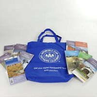 Lot of TEN U.S. State City AAA Road Maps & Tote Bag: Chicago, IL, CA, CO, IA, MI