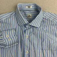 Peter Millar Button Up Shirt Mens L Blue Long Sleeve 100% Cotton Striped Shirt