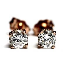 GIA certified SI1 G H New 14k rose gold round diamond .76ct stud earrings estate