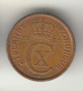 ICELAND 1 EYRIR 1939 LARGE 3 COPPER          162J        BY COINMOUNTAIN