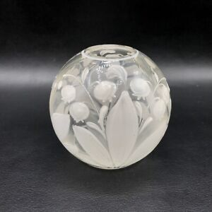 Vintage Hand Blown Clear Glass Round Bud Painted Enamel Vase Lily of the Valley