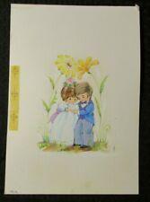 "VALENTINES DAY Boy & Girl Under Flower Arch 8x11"" Greeting Card Art #9025"