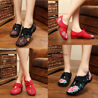 Women Chinese Embroidered Soft Sole Flat Floral Shoes Folk Handmade Slip On Shoe