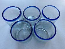 Mexican Artisan Juice Glasses Set of 5 Clear / Cobalt Blue Rim Hand Blown 16 Oz